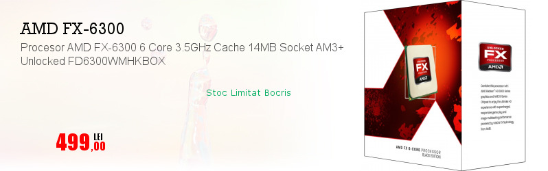 Procesor AMD FX-6300 6 Core 3.5GHz Cache 14MB Socket AM3+ Unlocked FD6300WMHKBOX