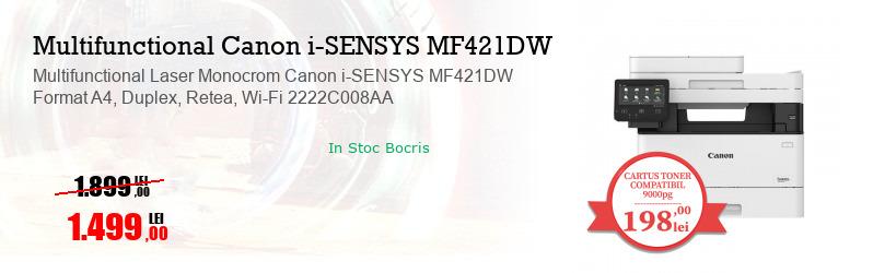 Multifunctional Laser Monocrom Canon i-SENSYS MF421DW Format A4, Duplex, Retea, Wi-Fi 2222C008AA