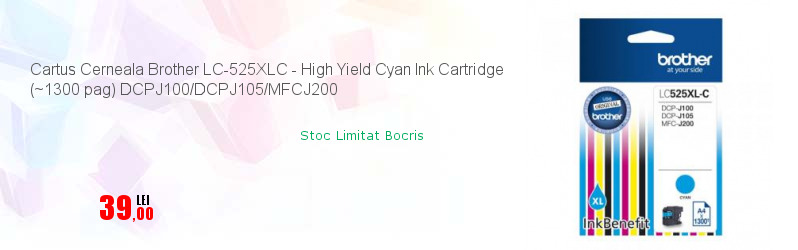 Cartus Cerneala Brother LC-525XLC - High Yield Cyan Ink Cartridge (~1300 pag) DCPJ100/DCPJ105/MFCJ200