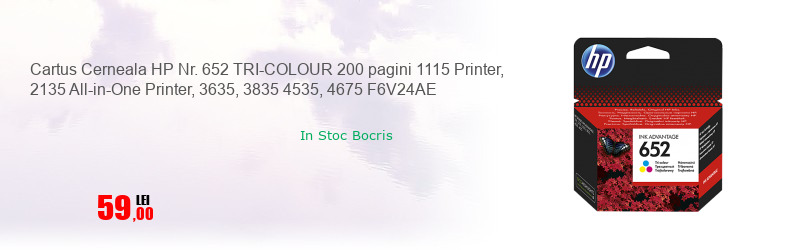 Cartus Cerneala HP Nr. 652 TRI-COLOUR 200 pagini 1115 Printer, 2135 All-in-One Printer, 3635, 3835 4535, 4675 F6V24AE