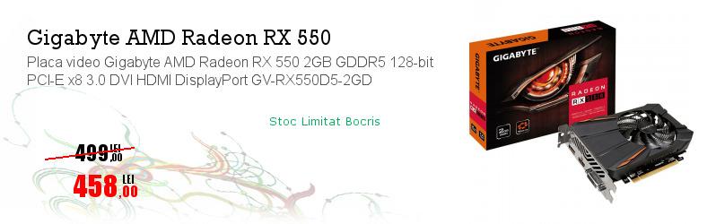 Placa video Gigabyte AMD Radeon RX 550 2GB GDDR5 128-bit PCI-E x8 3.0 DVI HDMI DisplayPort GV-RX550D5-2GD