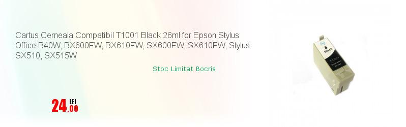 Cartus Cerneala Compatibil T1001 Black 26ml for Epson Stylus Office B40W, BX600FW, BX610FW, SX600FW, SX610FW, Stylus SX510, SX515W