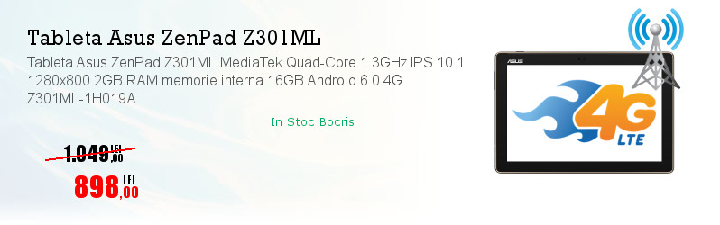 Tableta Asus ZenPad Z301ML MediaTek Quad-Core 1.3GHz IPS 10.1 1280x800 2GB RAM memorie interna 16GB Android 6.0 4G Z301ML-1H019A