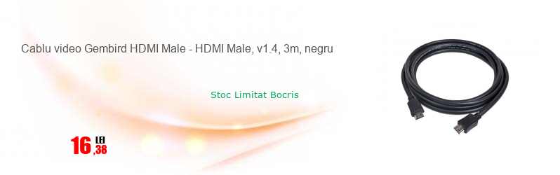 Cablu video Gembird HDMI Male - HDMI Male, v1.4, 3m, negru