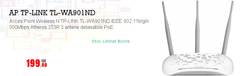 Acces Point Wireless N TP-LINK TL-WA901ND IEEE 802.11b/g/n 300Mbps Atheros 3T3R 3 antene detasabile PoE