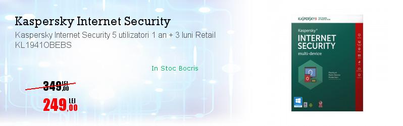 Kaspersky Internet Security 5 utilizatori 1 an + 3 luni Retail KL1941OBEBS