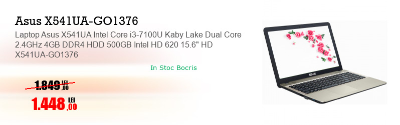 "Laptop Asus X541UA Intel Core i3-7100U Kaby Lake Dual Core 2.4GHz 4GB DDR4 HDD 500GB Intel HD 620 15.6"" HD X541UA-GO1376"