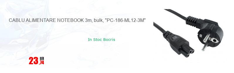 """CABLU ALIMENTARE NOTEBOOK 3m, bulk, """"PC-186-ML12-3M"""""""