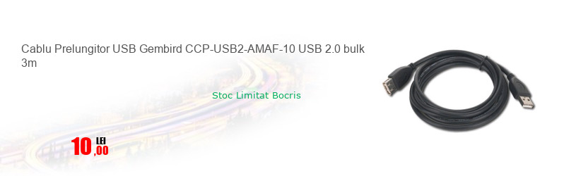 Cablu Prelungitor USB Gembird CCP-USB2-AMAF-10 USB 2.0 bulk 3m