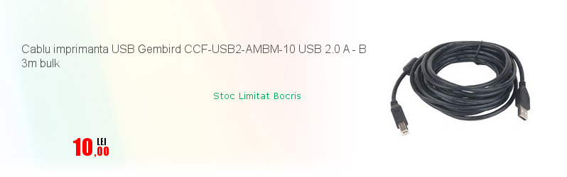 Cablu imprimanta USB Gembird CCF-USB2-AMBM-10 USB 2.0 A - B 3m bulk