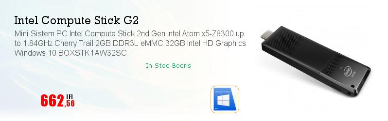 Mini Sistem PC Intel Compute Stick 2nd Gen Intel Atom x5-Z8300 up to 1.84GHz Cherry Trail 2GB DDR3L eMMC 32GB Intel HD Graphics Windows 10 BOXSTK1AW32SC