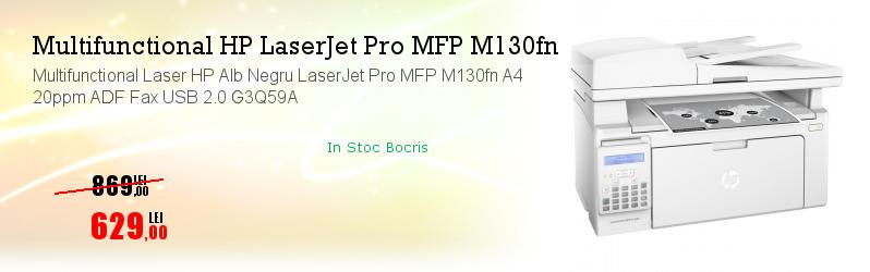 Multifunctional Laser HP Alb Negru LaserJet Pro MFP M130fn A4 20ppm ADF Fax USB 2.0 G3Q59A