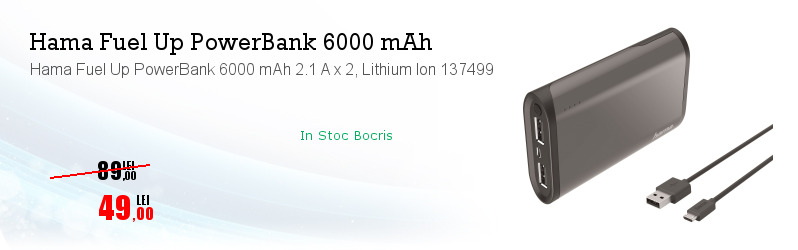 Hama Fuel Up PowerBank 6000 mAh 2.1 A x 2, Lithium Ion 137499