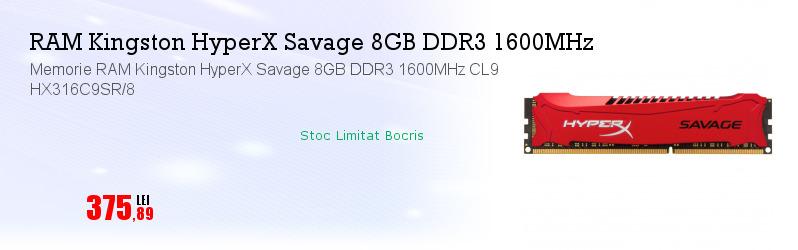 Memorie RAM Kingston HyperX Savage 8GB DDR3 1600MHz CL9 HX316C9SR/8