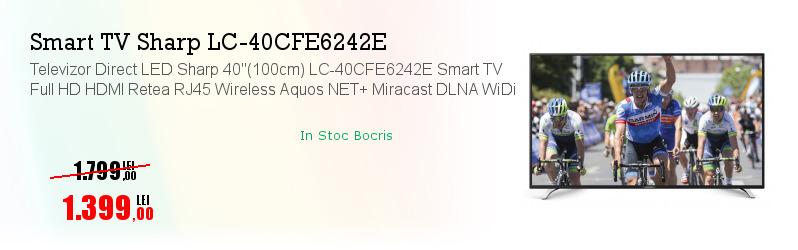"Televizor Direct LED Sharp 40""(100cm) LC-40CFE6242E Smart TV Full HD HDMI Retea RJ45 Wireless Aquos NET+ Miracast DLNA WiDi"