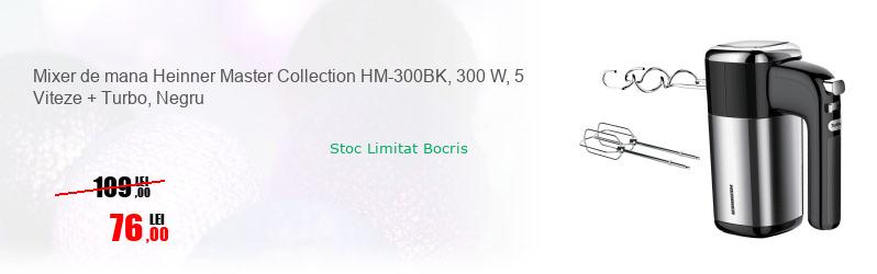 Mixer de mana Heinner Master Collection HM-300BK, 300 W, 5 Viteze + Turbo, Negru