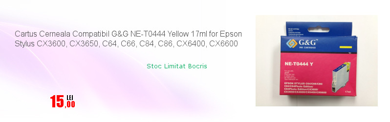 Cartus Cerneala Compatibil G&G NE-T0444 Yellow 17ml for Epson Stylus CX3600, CX3650, C64, C66, C84, C86, CX6400, CX6600