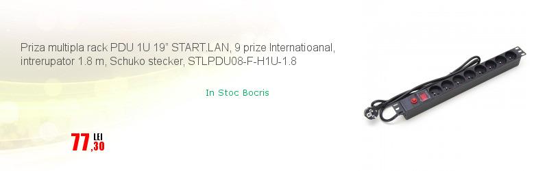 """Priza multipla rack PDU 1U 19"""" START.LAN, 9 prize Internatioanal, intrerupator 1.8 m, Schuko stecker, STLPDU08-F-H1U-1.8"""