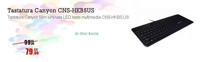 Tastatura Canyon Slim luminata LED taste multimedia CNS-HKB5-US