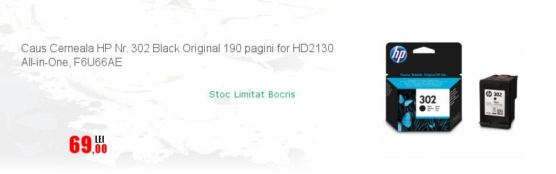Caus Cerneala HP Nr. 302 Black Original 190 pagini for HD2130 All-in-One, F6U66AE