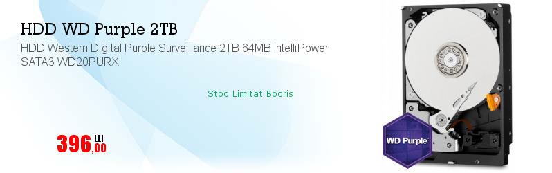HDD Western Digital Purple Surveillance 2TB 64MB IntelliPower SATA3 WD20PURX