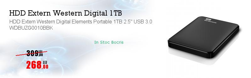 """HDD Extern Western Digital Elements Portable 1TB 2.5"""" USB 3.0 WDBUZG0010BBK"""