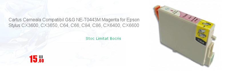 Cartus Cerneala Compatibil G&G NE-T0443M Magenta for Epson Stylus CX3600, CX3650, C64, C66, C84, C86, CX6400, CX6600