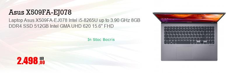 "Laptop Asus X509FA-EJ078 Intel i5-8265U up to 3.90 GHz 8GB DDR4 SSD 512GB Intel GMA UHD 620 15.6"" FHD"