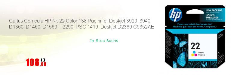 Cartus Cerneala HP Nr. 22 Color 138 Pagini for Deskjet 3920, 3940, D1360, D1460, D1560, F2290, PSC 1410, Deskjet D2360 C9352AE
