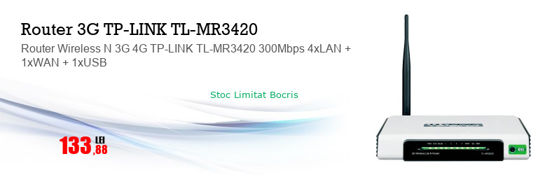Router Wireless N 3G 4G TP-LINK TL-MR3420 300Mbps 4xLAN + 1xWAN + 1xUSB