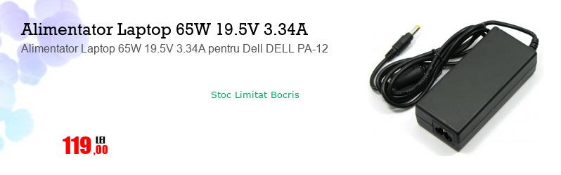 Alimentator Laptop 65W 19.5V 3.34A pentru Dell DELL PA-12