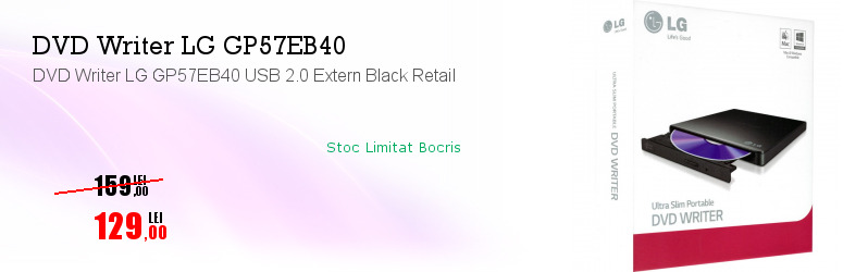 DVD Writer LG GP57EB40 USB 2.0 Extern Black Retail