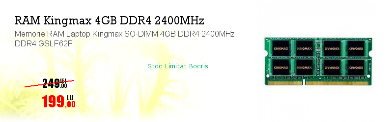 Memorie RAM Laptop Kingmax SO-DIMM 4GB DDR4 2400MHz DDR4 GSLF62F