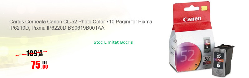 Cartus Cerneala Canon CL-52 Photo Color 710 Pagini for Pixma IP6210D, Pixma IP6220D BS0619B001AA