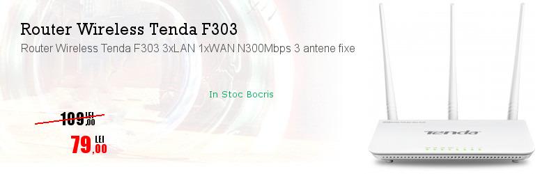 Router Wireless Tenda F303 3xLAN 1xWAN N300Mbps 3 antene fixe
