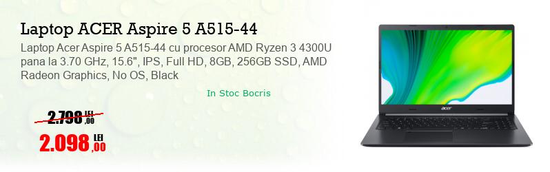 "Laptop Acer Aspire 5 A515-44 cu procesor AMD Ryzen 3 4300U pana la 3.70 GHz, 15.6"", IPS, Full HD, 8GB, 256GB SSD, AMD Radeon Graphics, No OS, Black"