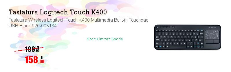 Tastatura Wireless Logitech Touch K400 Multimedia Built-in Touchpad USB Black 920-003134