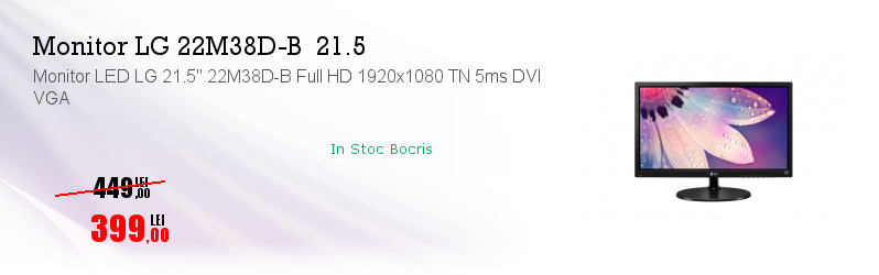 Monitor LED LG 21.5'' 22M38D-B Full HD 1920x1080 TN 5ms DVI VGA
