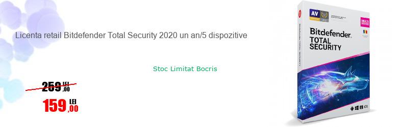 Licenta retail Bitdefender Total Security 2020 un an/5 dispozitive