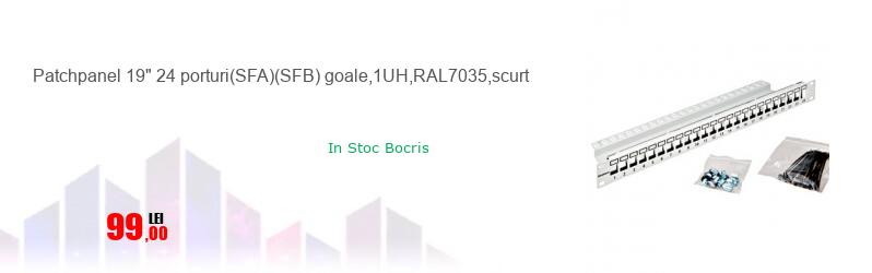"""Patchpanel 19"""" 24 porturi(SFA)(SFB) goale,1UH,RAL7035,scurt"""