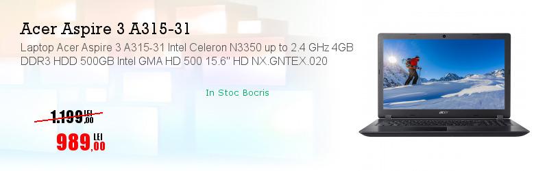 """Laptop Acer Aspire 3 A315-31 Intel Celeron N3350 up to 2.4 GHz 4GB DDR3 HDD 500GB Intel GMA HD 500 15.6"""" HD NX.GNTEX.020"""