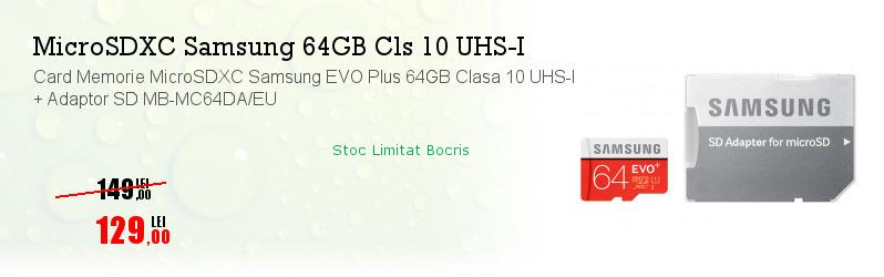 Card Memorie MicroSDXC Samsung EVO Plus 64GB Clasa 10 UHS-I + Adaptor SD MB-MC64DA/EU