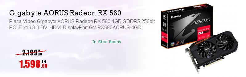 Placa Video Gigabyte AORUS Radeon RX 580 4GB GDDR5 256bit PCI-E x16 3.0 DVI HDMI DisplayPort GV-RX580AORUS-4GD