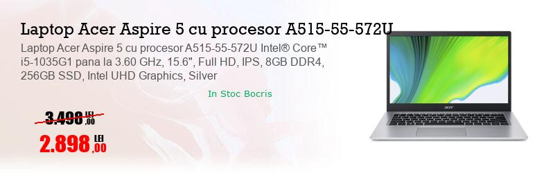 "Laptop Acer Aspire 5 cu procesor A515-55-572U Intel® Core™ i5-1035G1 pana la 3.60 GHz, 15.6"", Full HD, IPS, 8GB DDR4, 256GB SSD, Intel UHD Graphics, Silver"