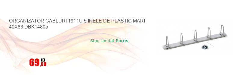 "ORGANIZATOR CABLURI 19"" 1U 5 INELE DE PLASTIC MARI 40X83 DBK14805"