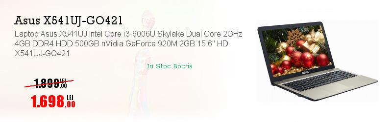"""Laptop Asus X541UJ Intel Core i3-6006U Skylake Dual Core 2GHz 4GB DDR4 HDD 500GB nVidia GeForce 920M 2GB 15.6"""" HD X541UJ-GO421"""