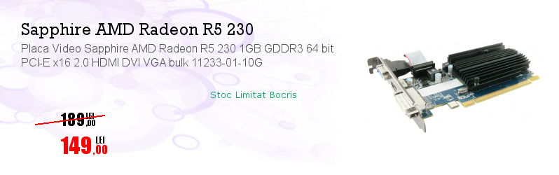 Placa Video Sapphire AMD Radeon R5 230 1GB GDDR3 64 bit PCI-E x16 2.0 HDMI DVI VGA bulk 11233-01-10G
