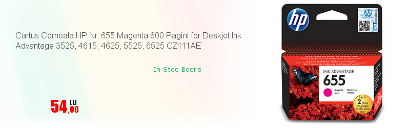 Cartus Cerneala HP Nr. 655 Magenta 600 Pagini for Deskjet Ink Advantage 3525, 4615, 4625, 5525, 6525 CZ111AE