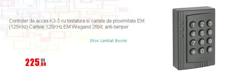 Controler de acces K3-3 cu tastatura si cartele de proximitate EM (125Khz).Cartele 125KHz EM Wiegand 26bit; anti-tamper