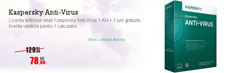 Licenta antivirus retail Kaspersky Anti-Virus 1 AN + 3 luni gratuite - licenta valabila pentru 1 calculator